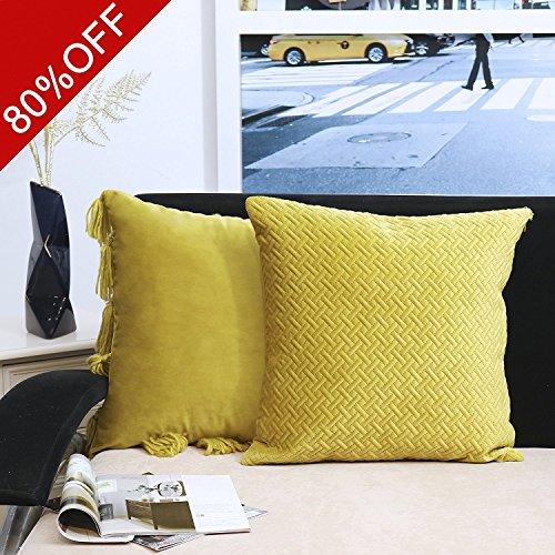 Valery Madelyn Hochwertige Gold Kissenbezug Dekoration Glanz Samt fester Kissenhülle mit Wolle Quasten atmungsaktive Naht Design (2er Set, 45x45cm) (Modische Quasten)