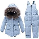 Trajes de Esquí para Niños Niñas Invierno Abajo Chaqueta con Capucha + Pantalones de Nieve 2 Piezas Bebé Conjunto de Trajes d