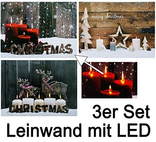 3er Set Weihnachtsszene auf Leinwand mit flackernder LED Beleuchtung an Flammen