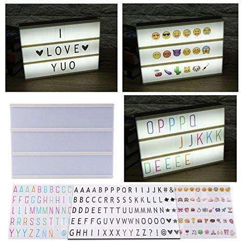 Preisvergleich Produktbild DIY LED Lichtbox Lightbox A4 Leuchtschild 85 X farbig Buchstaben Emoji Tafel