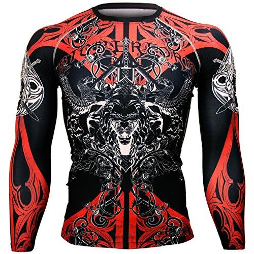 Btoperform Herren/Damen-Kompressions-Shirt, MMA/Kampfsport/Laufsport, bedruckt, langärmliges Oberteil, Fx-121 Medium gelb