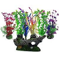 Aisamco Plantas acuáticas Artificiales, 6 Piezas de Plantas de Acuario, 1 Piezas de Acuario Artificial decoración de Resina de Adorno de plástico, Acuario Plantas de plástico Artificial decoración