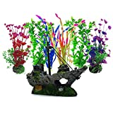 Aisamco Piante Artificiali Acquario Ornamenti Kit 6 pz Grande Pianta Artificiale Accessori, 1 pz Corsair Nave Sunken Nave per Acquario Decorazioni