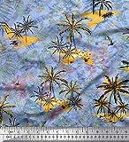 Soimoi Blau Baumwolle Ente Stoff Berg, Tropische Blätter &