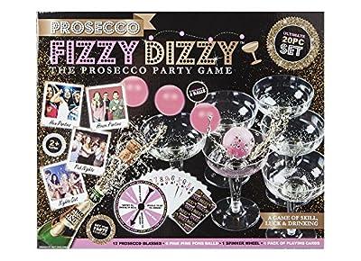 Prosecco FIZZY DIZZY KIT Partie Jeu de Compétence, Chance & Potable Ping Pong Boule De Verre 20 PC Set