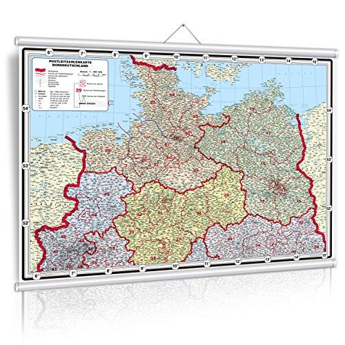 XXL 1,36 Meter - Original Postleitzahlenkarte Nord- Deutschland farbig (mit Echtholzbestäbung) - anti-reflex laminiert (riesen große Postleitzahlenkarte Nord- Deutschland farbig, Wandkarte) Großformat (Wenschow Karten)
