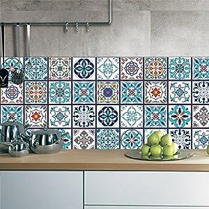GWELL 25 stück Abwaschbar Fliesenfolie Klebefolie Fliesenaufkleber Wandfliesen 20x20 cm Fliesensticker für Küche Wohnzimmer Bad Dekoration Mandala Muster-B