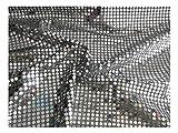Fabrics-City % SILBER/SCHWARZ HOCHWERTIG PAILETTEN STOFF PAILLETTENSTOFF 6MM STOFFE, 2427