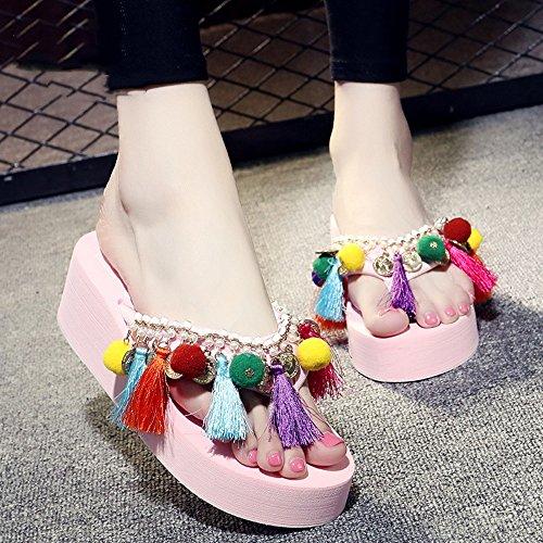 Estate Sandali 5,5 centimetri Flip flop femminile di modo di estate i sandali high-heeled (beige / nero / azzurro / dentellare / bianco) Colore / formato facoltativo Bianca