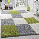 Shaggy Rug High-pile Long Pile Patterned Chequered In Various Colours, Colour:Green, Size:70x140 cm