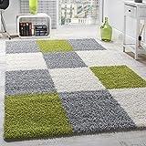 Paco Home Moderner Hochflor Teppich Shaggy Karo Muster Zottel Teppiche Grün Grau Weiß, Grösse:70x140 cm