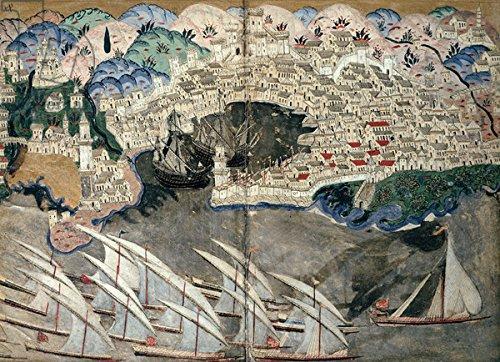 """Poster-Bild 80 x 60 cm: \""""The Ottoman Fleet Blocking the Port of Marseille in 1543 (vellum)\"""", Bild auf Poster"""