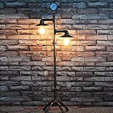 Tuipong Vintage Iron Living Room Study Pipe Floor Lamp with Pressure Gauge Retro Light Fixture with 2 Light Bulb Holders Vintage Water Pipe Light Floor Lamp E27 Socket (Bulb Not Included)