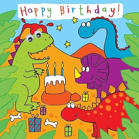 twizler Carte d'anniversaire pour enfant avec dinosaures Parti et yeux mobiles–Carte d'anniversaire pour enfant