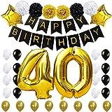 KUNGYO 40 Decoración para Fiestas de Cumpleaños- Happy Birthday Pancarta Negro, 40 Pulgadas Globo de Oro 40', Flores de Papel, Globos de Estrellas y Látex, Fuentes de Fiesta con Clase para 40 años