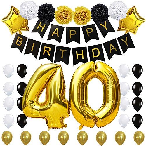 KUNGYO #40 Decoración para Fiestas de Cumpleaños- Happy Birthday Pancarta Negro, 40 Pulgadas Globo de Oro 40', Flores de Papel, Globos de Estrellas y Látex, Fuentes de Fiesta con Clase para 40 años