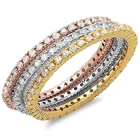 1.15 Carat (ctw) 14 ct White, Yellow & Rose Gold Diamond 3 Tone Eternity Wedding Band 3 Pcs. Ring Set