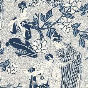 Tissu Alexander Henry avec des Geishas bleu indigo