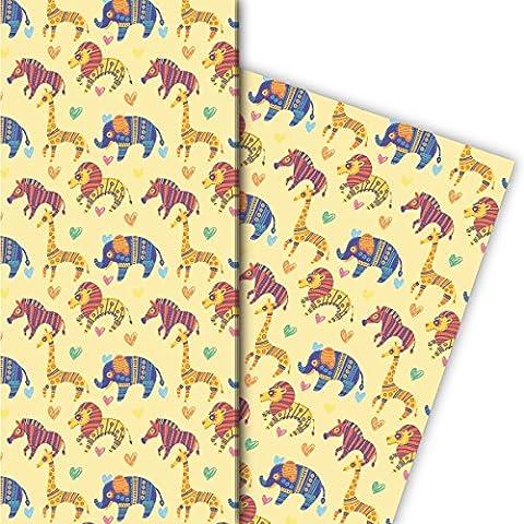Schönes Kinder Geschenkpapier in ethno Tieren für tolle Geschenk Verpackung und Überraschungen (4 Bogen, 32 x 48cm), auf gelb