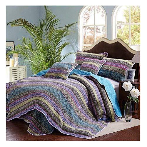 Beddingleer Tagesdecke 220 x 240 cm Baumwolle Patchwork Gesteppt Tagesdecken Bettüberwurf für...