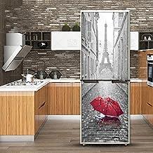 XIAOMAN Pegatinas de Nevera de Cocina Paraguas Rojo Paris HD Refrigerador Puerta Wrap Cover Extraíble Autoadhesivo