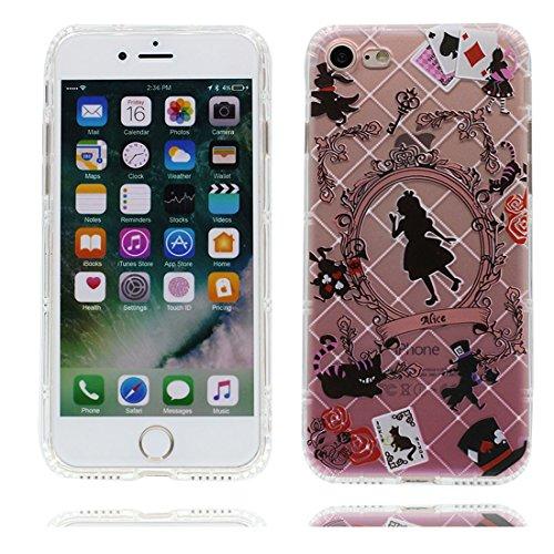 iPhone 7 Custodia, [ Cartoon Disney principessa sirena fiore ] TPU Silicone Trasparente Nuovo Gel Soft Case iPhone 7 Custodia (4.7 pollici) durevole Cartoon Cover Prova di scossa anti-graffio # # 1