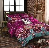 Bohemia estilo Oriental Mandala ropa de cama microfibra fundas de edredón conjuntos, Algodón/poliéster, A, Single Size(Duvet Cover Set)