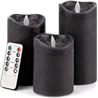 Christow LED Candles, Flickering Flameless Battery Pillar Lights, Real Wax, Warm White Glow, Remote Control with Timer & Brightness Function, Black