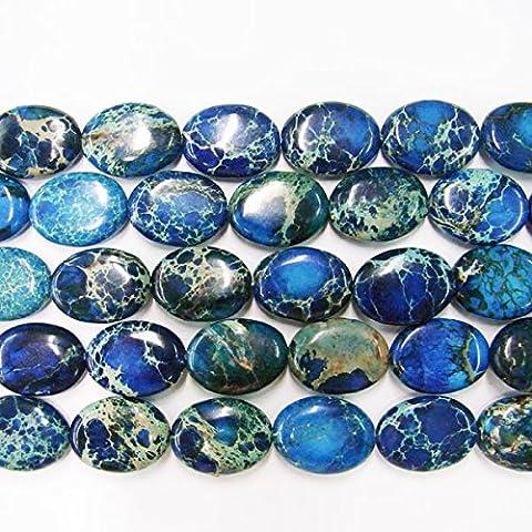 thetastejewelry 12x 16mm Oval Meeressediment dunkelblau Jasper Perlen 38,1cm 38cm Halskette Heilung Schmuck herstellen