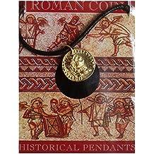 Colgante con diseño de áureo (moneda antigua romana) dorada, con cara del emperador