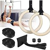 Zacro Gymnastiekringen van hout, 700 kg, verstelbaar, gesp 15 voet lange veiligheidsgordel, gymnastiekringen voor workouts fi