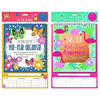 2 x 2018-2019 A4 Academic Mid-Year Oragniser Writ-On, Wipe-Off with Pen,Envelop - Random Colour x 1