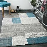 Designer Kurzflor Teppich in Türkis Blau, Grau und Weiß Kachel-Optik Pflegeleicht -VIMODA, Maße:80x150 cm