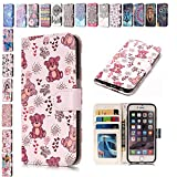 E-Mandala iPhone 5 5S SE Hülle Leder Flip Case Wallet Tasche handyhüllen Silikon 3D Muster Schutzhülle Lederhülle mit Kartenfach Klapphülle Handytasche - Bär