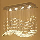 QAZ Ciondolo punti luce lampadari di cristallo, moderno semplice soggiorno sala da pranzo e bar Ristorante rettangolo lampadari di apparecchi di illuminazione (Dimensione : 10 luci/120*30*70cm)
