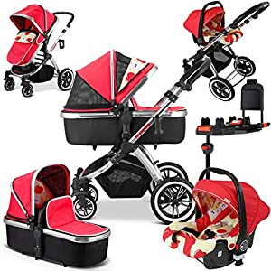 iVogue Apple Luxury 3in1 Pram Stroller Travel System (Carseat+ISOFIX Base) Mu The adjustable 5-point safety harness has comfortable shoulder pads, The sturdy frame has a wider seat which results in a more comfortable ride for your child The stroller can be easily folded, smaller and more portable; the adjustable backrest angle can be seated or lying down, as well as a large shopping basket and caster The aluminum alloy triangle frame is safer, safer and more secure. 9
