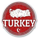 DestinationVinyl 2 x 10cm/100mm Türkei Vinyl Selbstklebende Sticker Aufkleber Laptop Reisen Gepäckwagen Cool Zeichen Spaß #5561