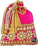 Bombay Haat Women's Silk Ethnic Rajasthani Potli Clutch Purse (Pink)