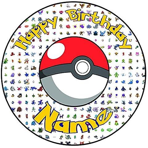 Happy Birthday Pokemon Go 20,3cm (20cm) rund vorgeschnittenen Tortenaufleger