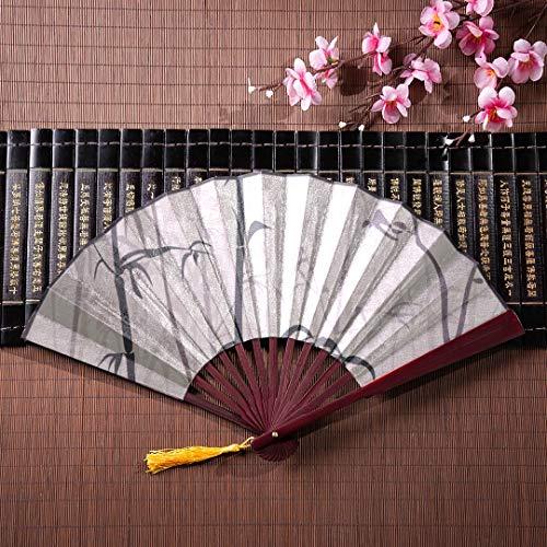 dwerk Bambus Wald Traditionelle Chinesische Kalligraphie Kunst Mit Bambusrahmen Quaste Anhänger Und Stofftasche Wand Chinesischer Fan Elegante Faltfächer Chinesischer Kung Fu Fan ()