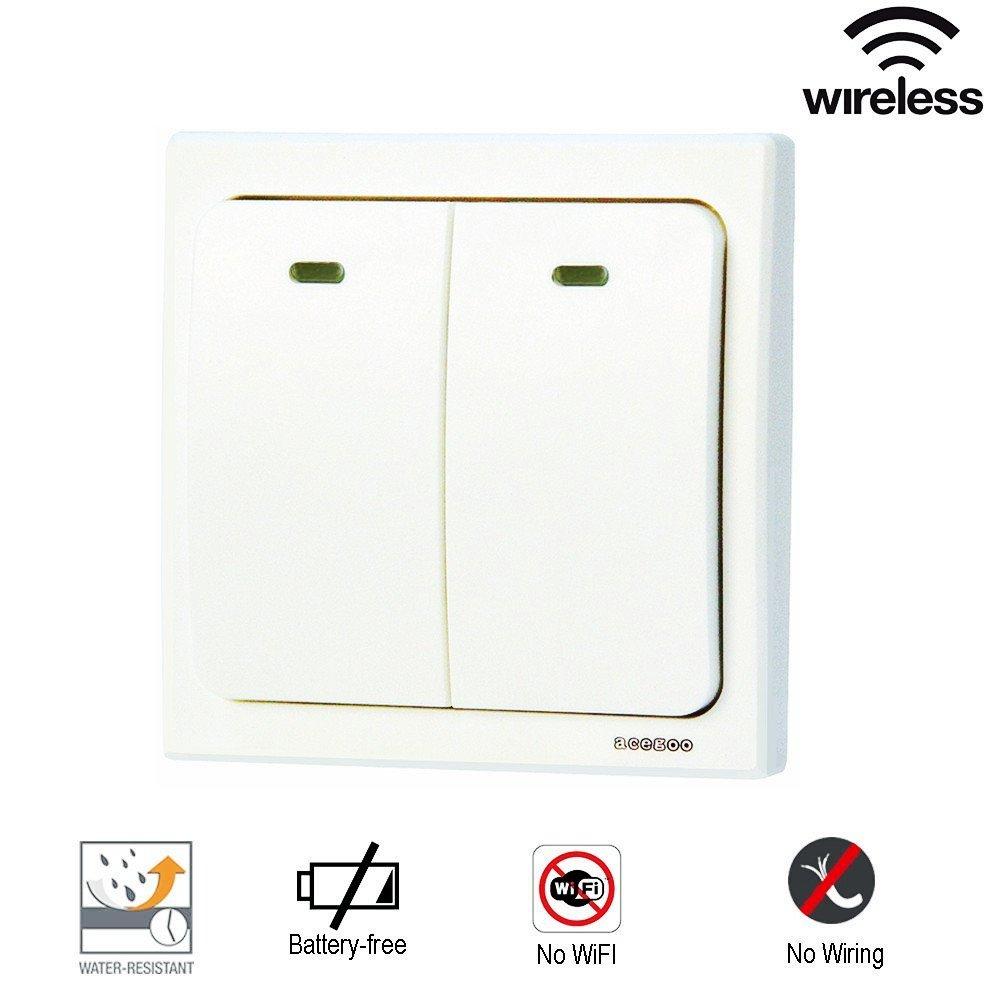 wireless light switch 2 gang self powered smart wall. Black Bedroom Furniture Sets. Home Design Ideas