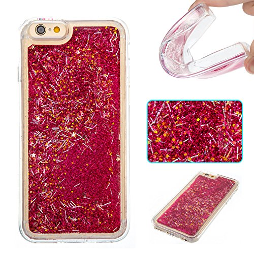iPhone 6S Hülle, iPhone 6 Silikon Schutzhülle, Anfire Bling 3D Transparent Handy Case Hülle für iPhone 6 6S (4.7 Zoll) Weich TPU Silikon Schutzhülle Kreativ Dynamisch Treibsand Liquid Fließen Flüssig  Rot
