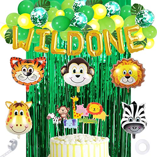 60pcs Dschungel Safari Party Supplies, Dschungel Tier Dekorationen, Wild One Banner, Tierballons und Tier Cake Topper für Dschungel Safari Zoo Theme Birthday Party Dekorationen.