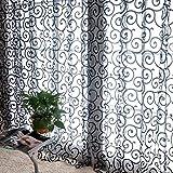 La Cabina Rideaux de Fenêtre Rideaux Voilage Porte en Voile de Tulle Florale 100*200 cm