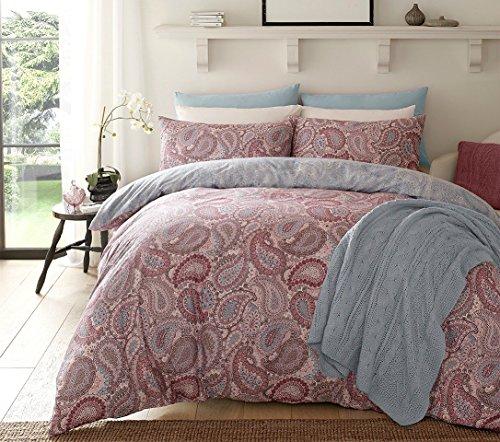 Paisley lila Bettbezug & Kissenbezug Set Bettwäsche Digital Print Quilt Fall Single Double King Betten Schlafzimmer Sofa, Polycotton, Violett, Einzelbett