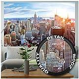 GREAT ART Fotomurale - Skyline di New York - Decorazione da Parete Sunset Manhattan Penthouse Vista Panoramica USA America Big Apple Carta da Parati (210 x 140 cm)