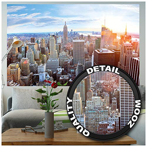 GREAT ART Fototapete - New York Skyline - Wandbild Dekoration Sonnenuntergang Manhattan Penthouse Panoramablick USA Deko Amerika Big Apple Foto-Tapete Wandtapete Fotoposter (210 x 140 cm)