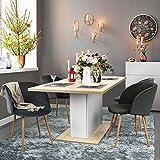 FurnitureR Extendable Rectangular Dining Table, Mltifunction Space Saving Wood Table