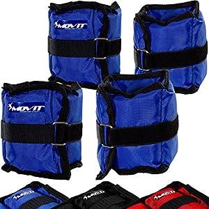 Movit 4er Set Gewichtsmanschetten, 2X 500g und 2X 1000g Laufgewichte für Fuß- und Handgelenke in 3 Farbvarianten Gewichte für Arme und Beine Gewichtsmanschette Fuß/Handgelenk