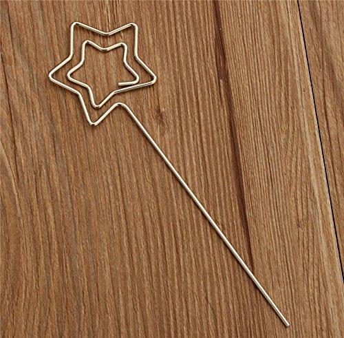 50pz pinze pinzette in metallo forma cinque stelle portafoto supporto memo foto clip bastoncini segnaposto bomboniera fai da te